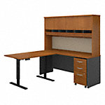 72W L Shaped Desk, 48W Height Adjustable Return and Hutch