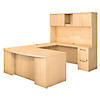 72W x 36D Bow Front U Shaped Desk with Hutch and 2 Pedestals
