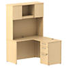48W x 22D Shell Desk L-Station with 3Dwr Pedestal and Hutch