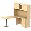72W x 30D Peninsula Desk L-Station with 3Dwr Pedestal and Hutch