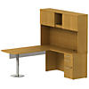 72Wx30D Peninsula L Desk w Glass MP, Hutch, Return and Ped