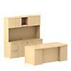 72W x 36D Bow Front Double Ped Desk with Storage Credenza, 72W Hutch