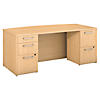 72W x 36D Bow Front Desk with 2 and 3 Drawer Pedestals