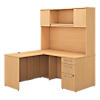 60W L Shaped Desk with Hutch, 30W Return and Storage