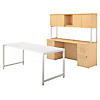 72W x 30D Table Desk with Credenza, Hutch, 2 and 3 Drawer Pedestals