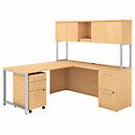 72W x 22D L Shaped Desk with Hutch, 48W Return and Storage