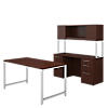 60W x 30D Table Desk with Double Pedestal Credenza and Hutch