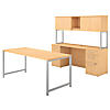 72W x 30D Table Desk, Credenza with File Drawers and Hutch