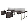 72W x 30D 4 Person Workstation with Table Desks and Storage
