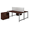72W x 30D 2 Person Workstation with Table Desks and Storage