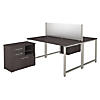 60W x 30D 2 Person Workstation with Table Desks and Storage