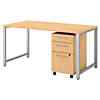 60W X 30D Table Desk with 3 Drawer Mobile Pedestal