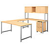 72W x 30D U Shaped Table Desk with Hutch and Mobile File Cabinet