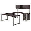 72W x 30D U Shaped Desk with Hutch and 3 Drawer Mobile File Cabinet
