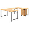 60W x 30D U Shaped Table Desk with 3 Drawer Mobile File Cabinet