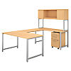 60W x 30D U Shaped Table Desk with Hutch and Mobile File Cabinet