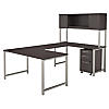 60W x 30D U Shaped Desk with Hutch and 3 Drawer Mobile File Cabinet