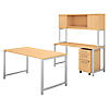 60W x 30D Table Desk with Credenza, Hutch and Mobile File Cabinet