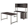 60W x 30D Table Desk, Credenza, Hutch and 3 Drawer Mobile File Cabinet