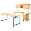 72W x 30D Table Desk with Credenza, Hutch and Mobile File Cabinet