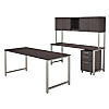 72W x 30D Table Desk, Credenza, Hutch and 3 Drawer Mobile File Cabinet