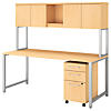 72W x 30D Table Desk with Hutch and 3 Drawer Mobile File Cabinet