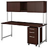 72W X 30D Table Desk with Hutch and 3 Drawer Mobile Pedestal
