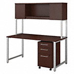 60W x 30D Table Desk with Hutch and 3 Drawer Mobile File Cabinet