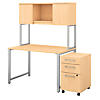 48W x 30D Table Desk with Hutch and 3 Drawer Mobile File Cabinet