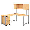 60W x 30D L Shaped Desk with Hutch, Return and Mobile File Cabinet
