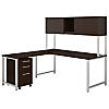 72W x 30D L Shaped Desk with Hutch, Return and Mobile File Cabinet