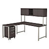 72W x 30D L Shaped Desk with Hutch, 42W Return and Mobile File Cabinet