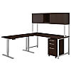 72W L Shaped Desk with Height Adjustable Return, Hutch and Storage