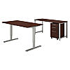 60W x 30D Height Adjustable Standing Desk with Credenza and Storage