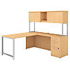 72W x 22D L Shaped Desk with Hutch, 48W Return and 3 Drawer Pedestal