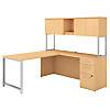 72W x 22D L Shaped Desk with Hutch, 48W Return and 3 Drawer Pedestal