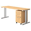 72W x 24D Table Desk with 3 Drawer Mobile File Cabinet