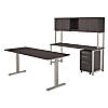 72W x 30D Height Adjustable Standing Desk, Credenza, Hutch and Storage