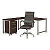 60W x 30D L Shaped Desk with Mobile File Cabinet and Chair
