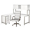 72W x 30D L Desk with Hutch, Mobile File Cabinet and Chair