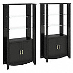 Set of 2 Tall Library Storage Cabinets with Doors