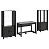 Writing Desk and Set of 2 Tall Library Storage Cabinets with Doors