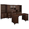 Double Pedestal Desk with Credenza, Hutch and Bookcases