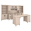 Office Desk with 2 Pedestals, Credenza, Hutch and Bookcases