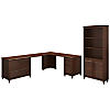 68W x 91D L Shaped Desk with Bookcase and 2 Pedestals