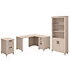 51W x 57D L Shaped Desk with Bookcase and File Cabinet