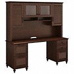 Double Pedestal Desk with Hutch