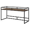 60W Glass Top Writing Desk with Shelf