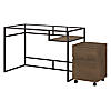 48W Glass Top Writing Desk with 2 Drawer Mobile File Cabinet