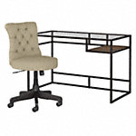 48W Glass Top Writing Desk with Mid Back Tufted Office Chair